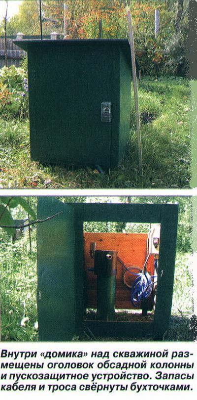 Внутри «домика» над скважиной размещены оголовок обсадной колонны и пускозащитное устройство