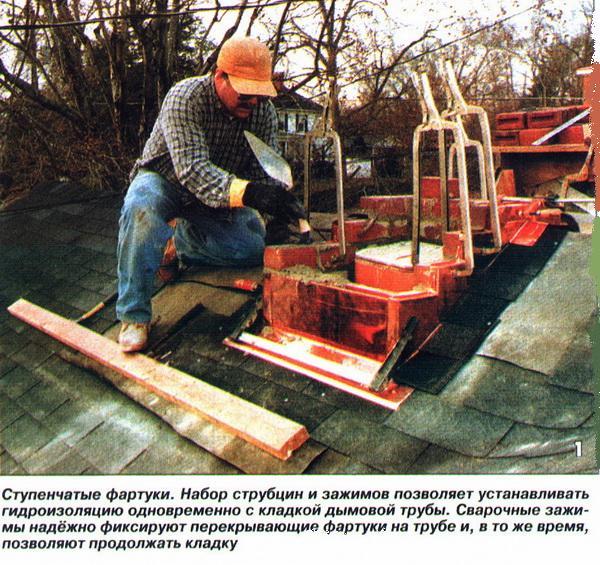 Ступенчатые фартуки. Набор струбцин и зажимов позволяет устанавливать гидроизоляцию одновременно с кладкой дымовой трубы.