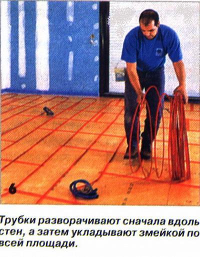 Трубки разворачивают сначала вдоль стен, а затем укладывают змейкой по всей площади.