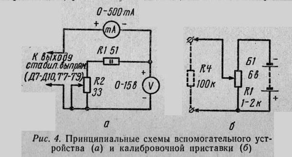 Принципиальные схемы вспомогательного устройства (а) и калибровочной приставки (б)