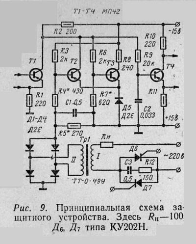 Принципиальная схема защитного устройства. Здесь Rн—100, Д6, Д7 типа КУ202Н.